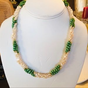 Jewelry - Freshwater pearls and green cats eye necklace.